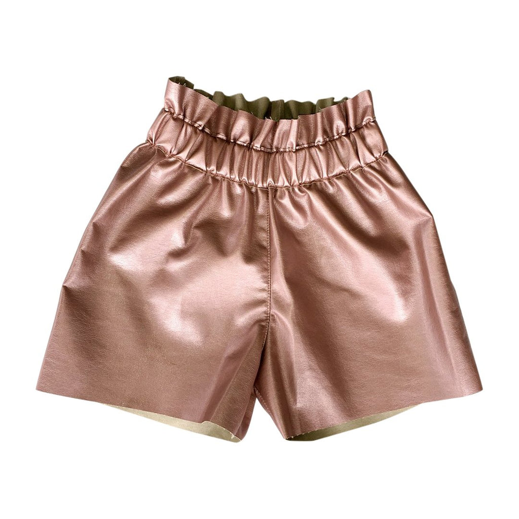 Girls pink leatherette shorts by Chichirikids