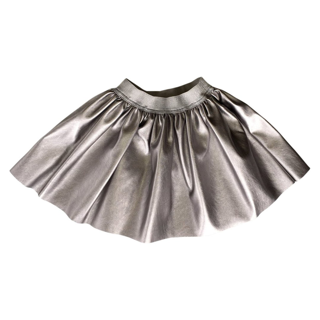 Silver leatherette skirt by Chichirikids