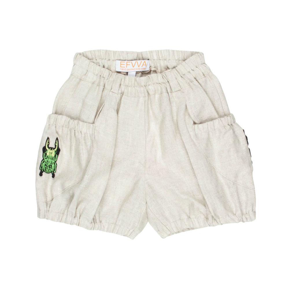 Girls' linen shorts in sand color with an embroidered bug on the side pocket by EFVVA
