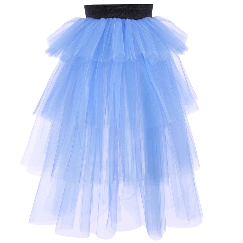 Long lila layered tulle skirt with black elastic band. OEKO-TEX certified product by EFVVA