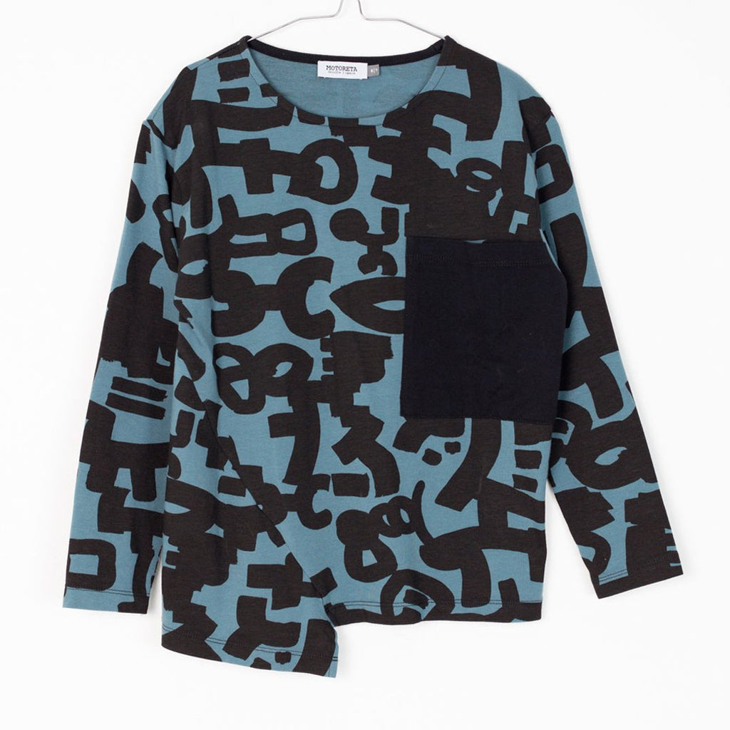 Blue and black long-sleeve boys t-shirt with geometric print by Motoreta