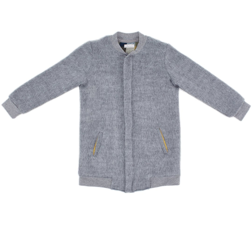 Longline unisex light gray coat with zipper by I Leoncini
