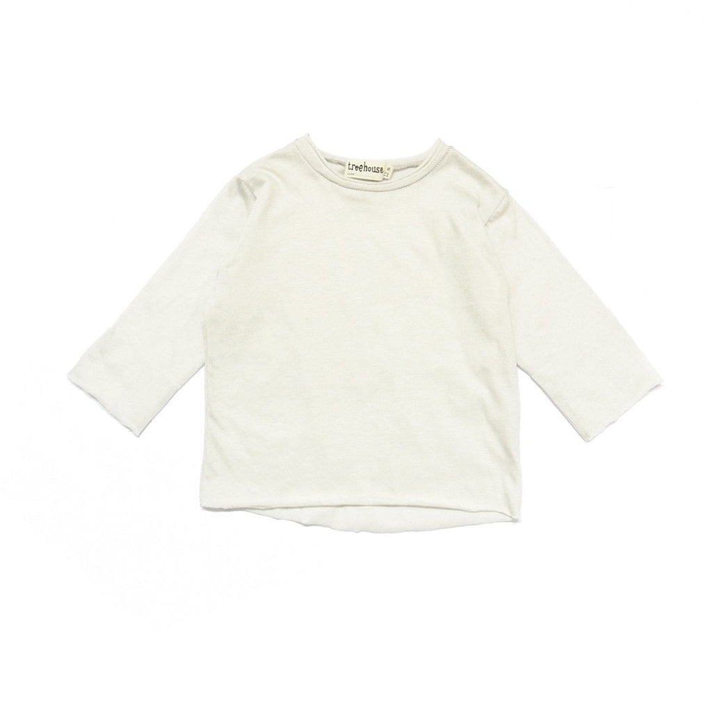 Soft unisex baby long sleeve t-shirt in pure white cotton in light gray by Treehouse