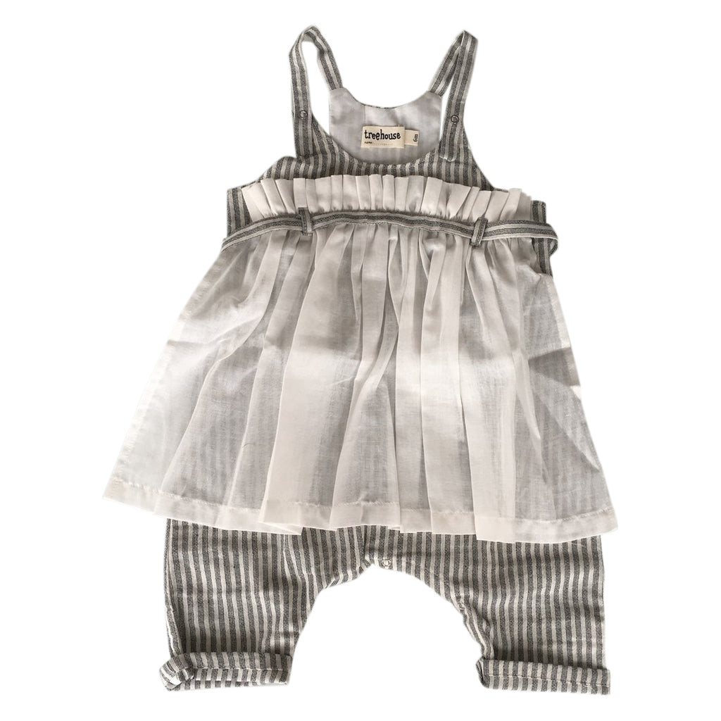 Striped baby apron one-piece with buttons on the bottom for an easy diaper change by Treehouse