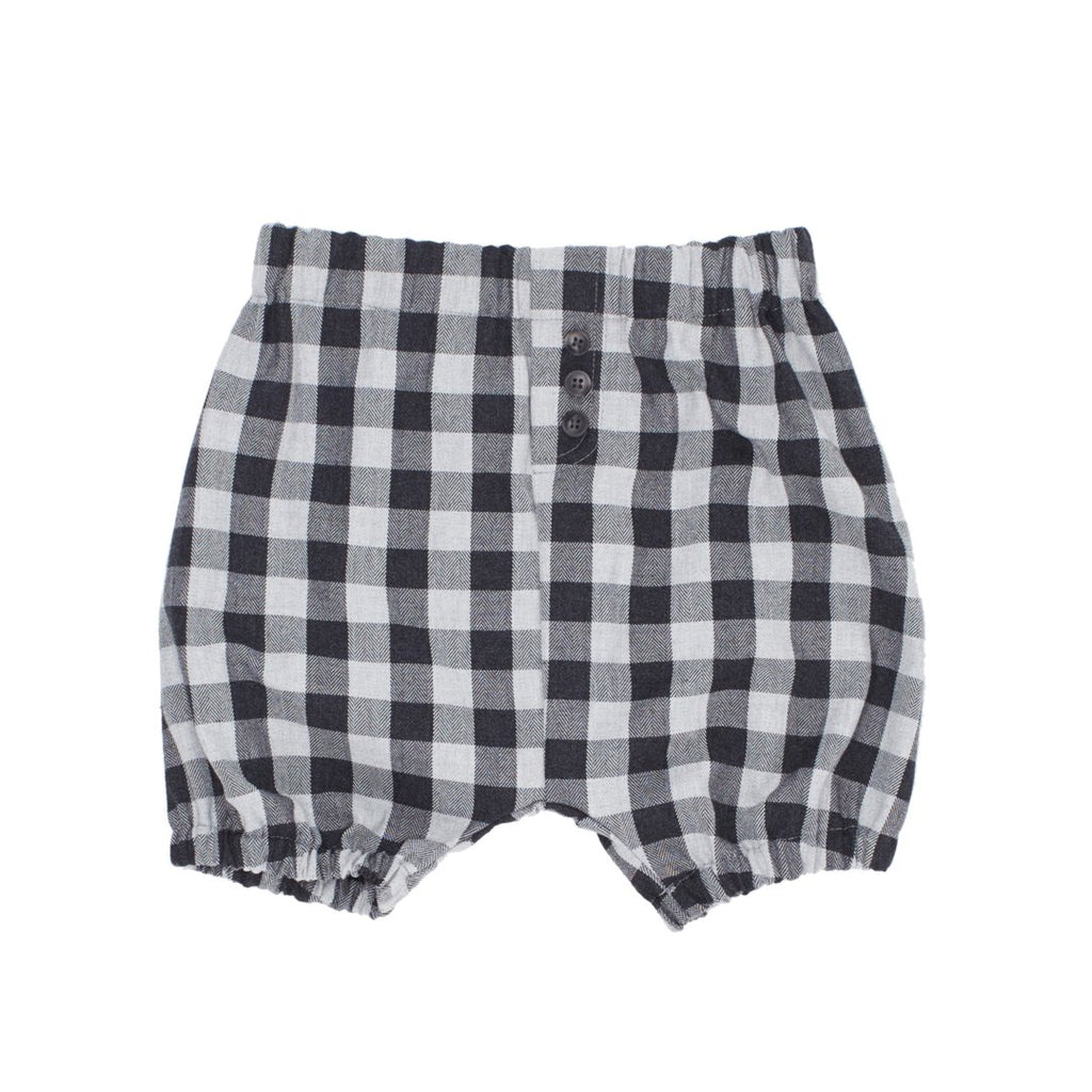 Girs tartan bubble shorts in warm cotton, with black and white plaid pattern by I Leoncini