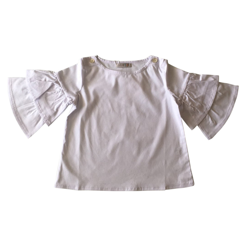Extra girly white poplin blouse, with original and stylish flared bell sleeves by Chichirikids