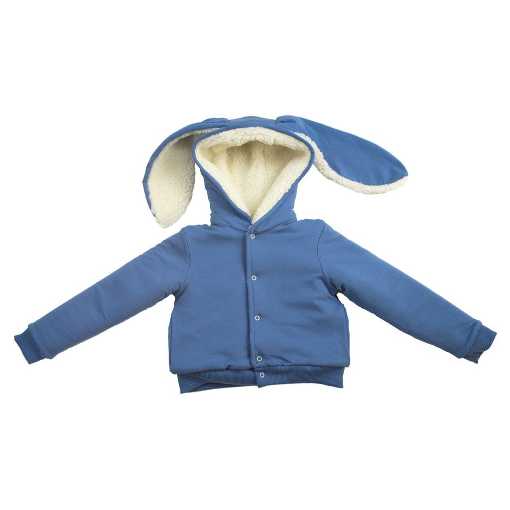 Organic and unique unisex rabbit jacket with faux fur inside