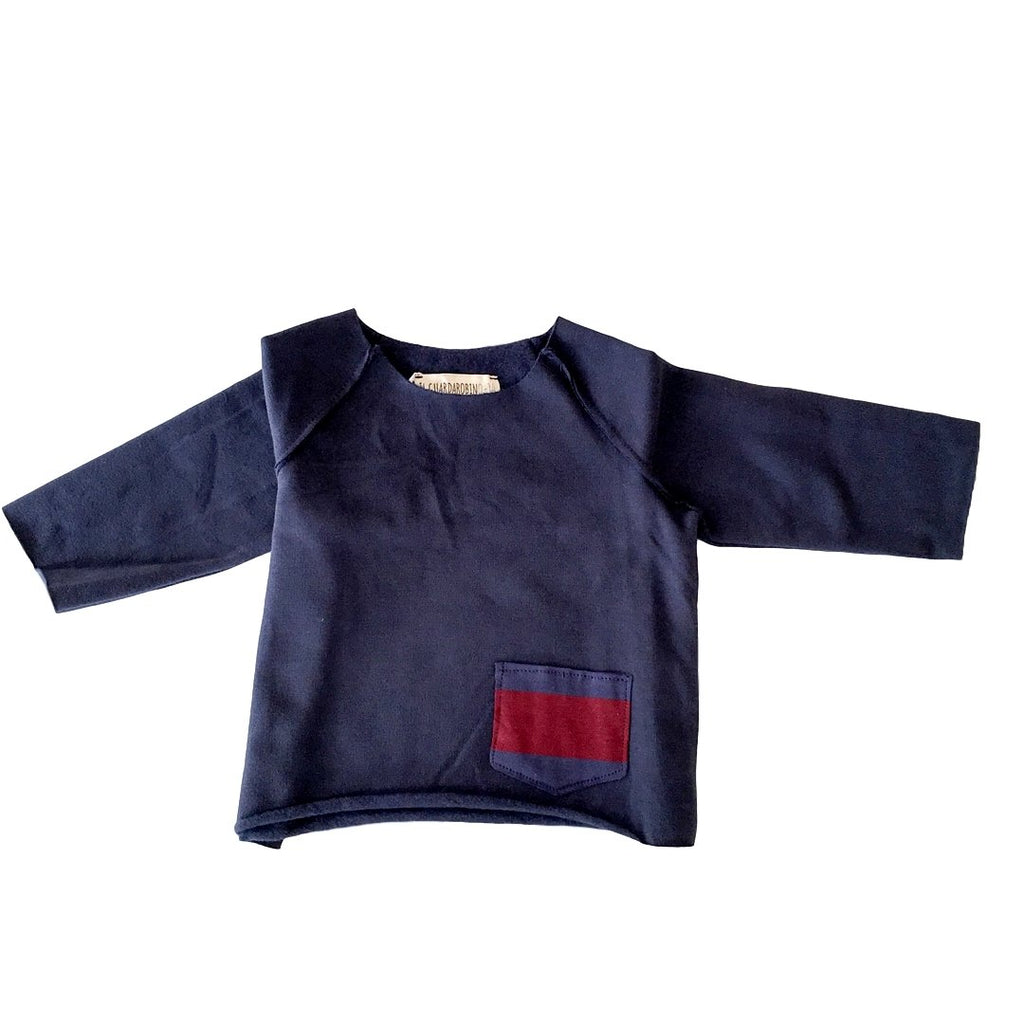 Blue raglan sweatshirt with a striped pocket on the bottom by Il Guardarobino