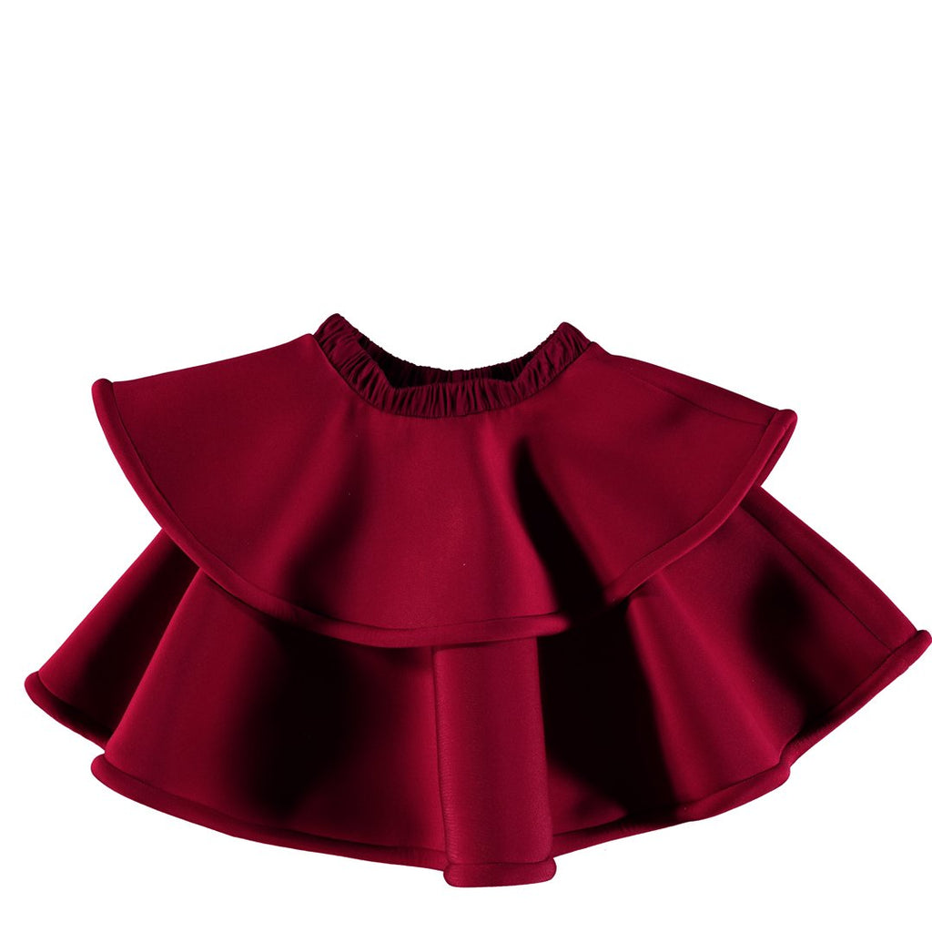 Structured two-layer skirt in beautiful ruby red color by Nikolia