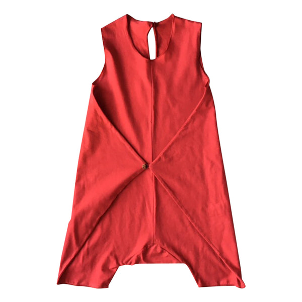 Baby and toddler playsuit in true red  with a wrap closing on the front and a button by Gayalab