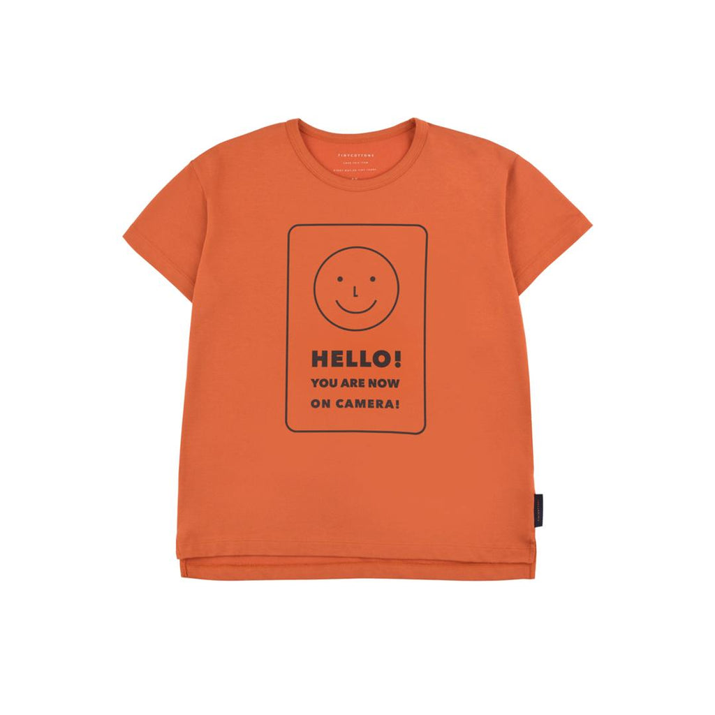 "Sienna color for girls and boys with ""HELLO"" print on the front"
