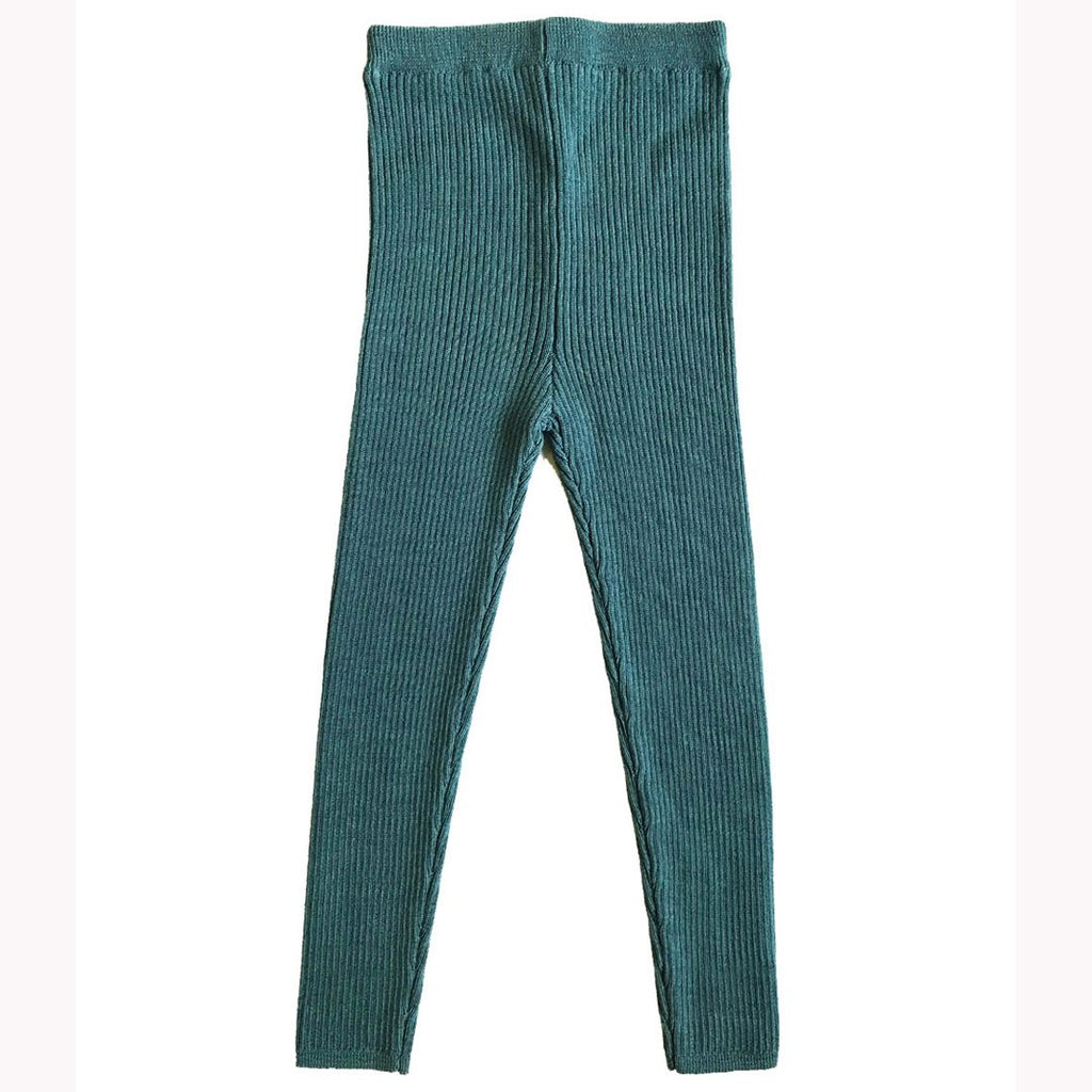Ribbed skinny legs in extra-fine merino wool by Mabli in an original agate green