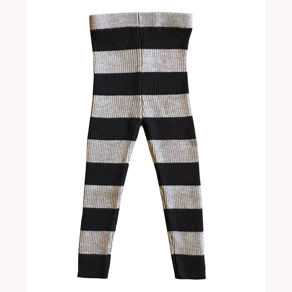 Ribbed skinny legs in extra-fine merino wool by Mabli in a cool wheat and ink combination.