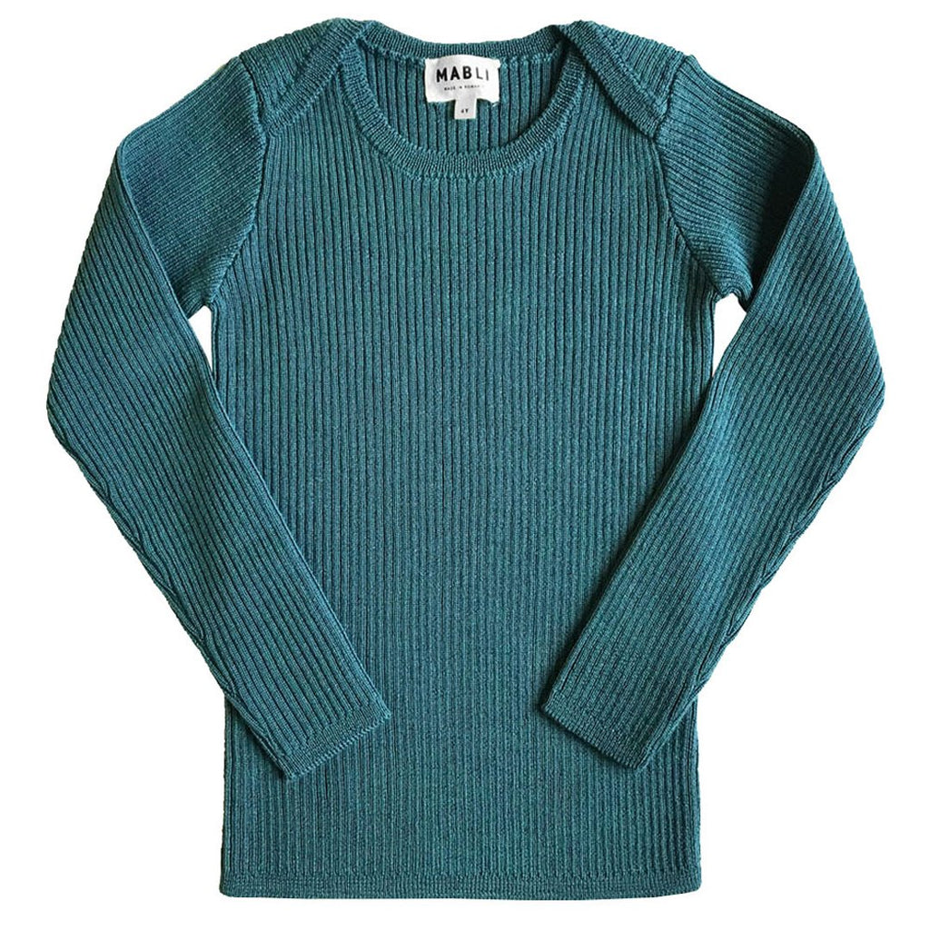 Rib top in extra-fine merino wool, with ribbed long-sleeves by Mabli  in a pretty agate green