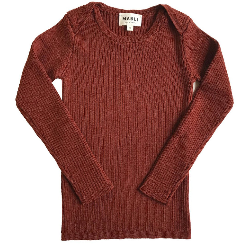 Sylfaen skinny rib top in extra-fine merino wool, with ribbed long-sleeves by Mabli are back this season. This top is in redwood.