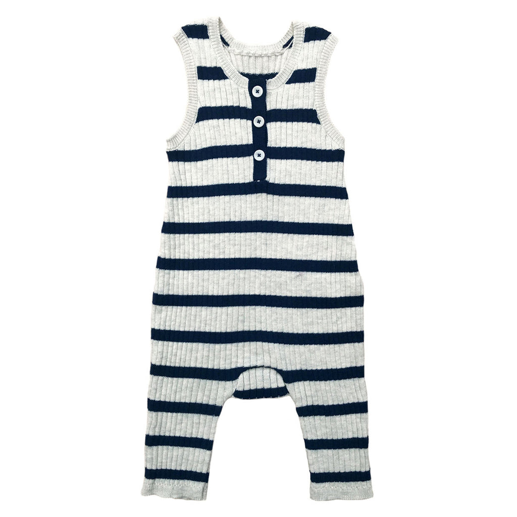 Baby and toddler unisex summer sleeveless romper in a indigo and ecru stripes by Mabli