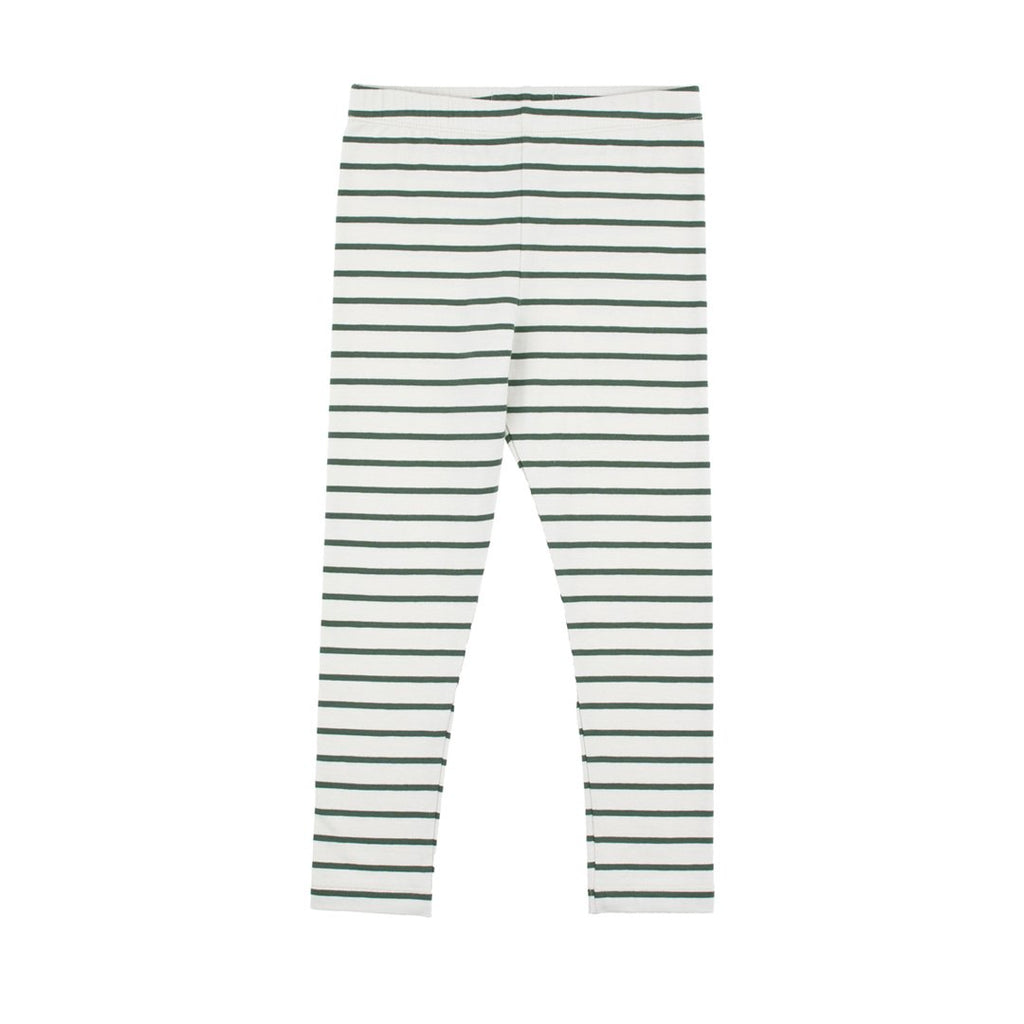 Small Stripes Lunisex Leggings Light Grey Dark Green