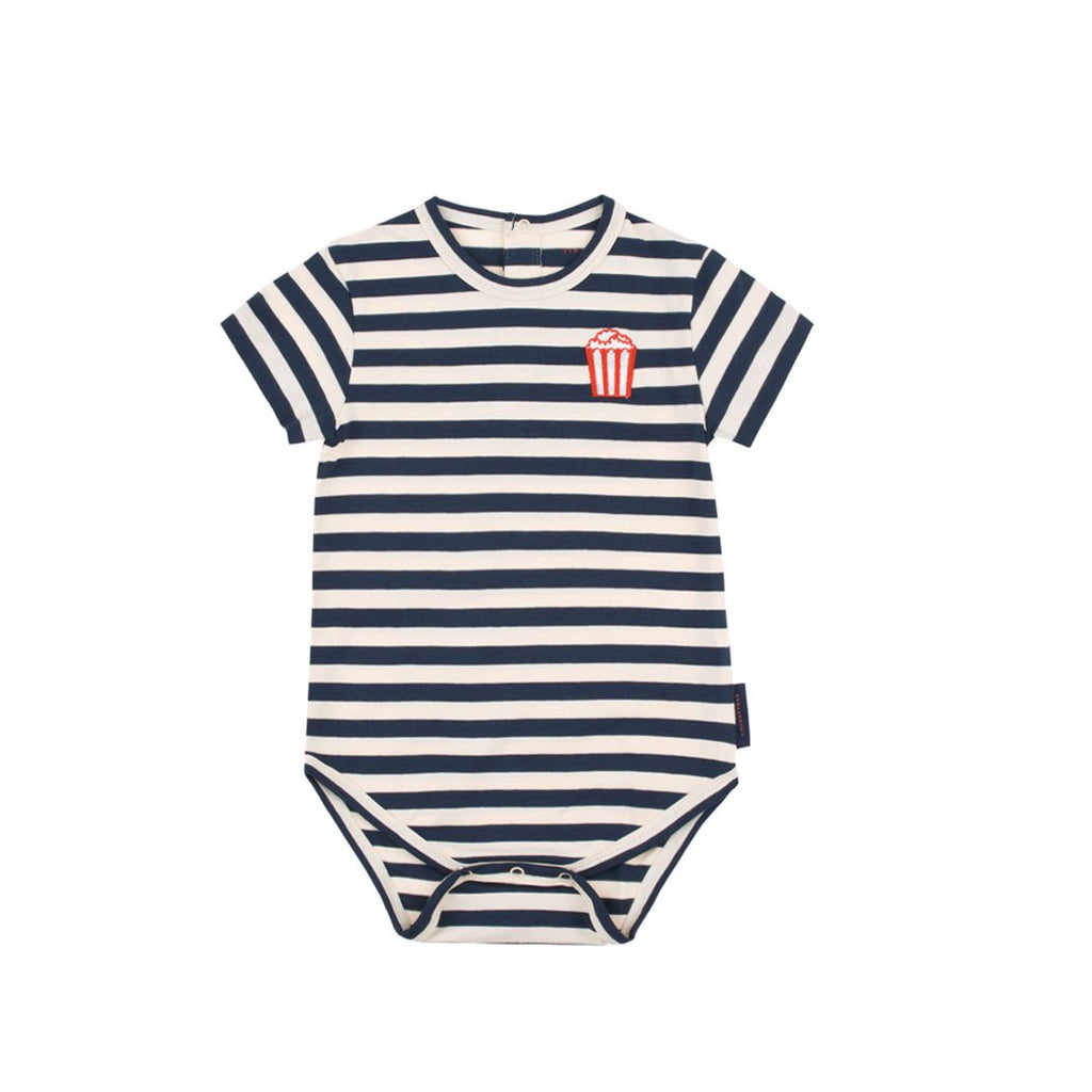 Cream and navy horizontal stripes and a red popcorn embroidery on the front by Tinycottons