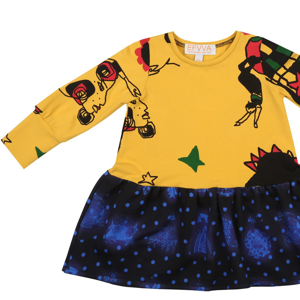 Girls dress with trademark prints dedicated to artist Niki de Saint Phalle on the top, and to the Tarots on the bottom part by EFFVA