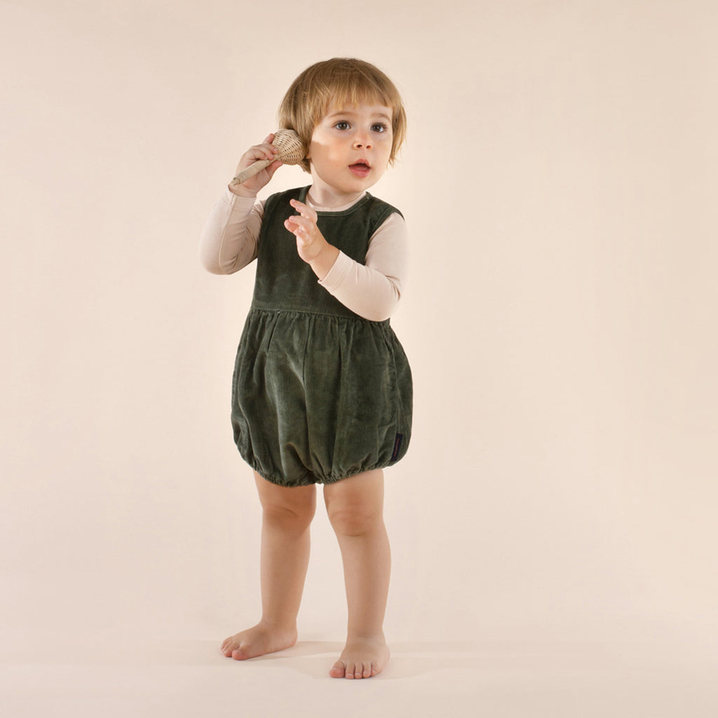 Corduroy Baby One Piece Dark Green