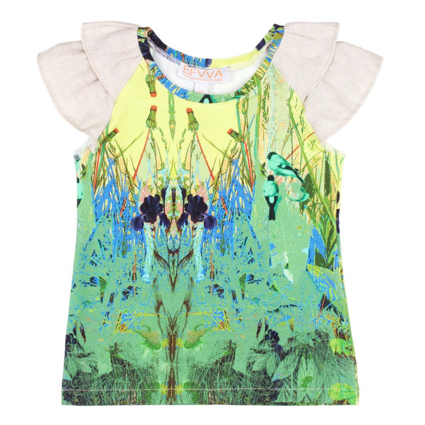 Pretty top with the uniqe print in different shades of green with tulle ruffles by EFVVA