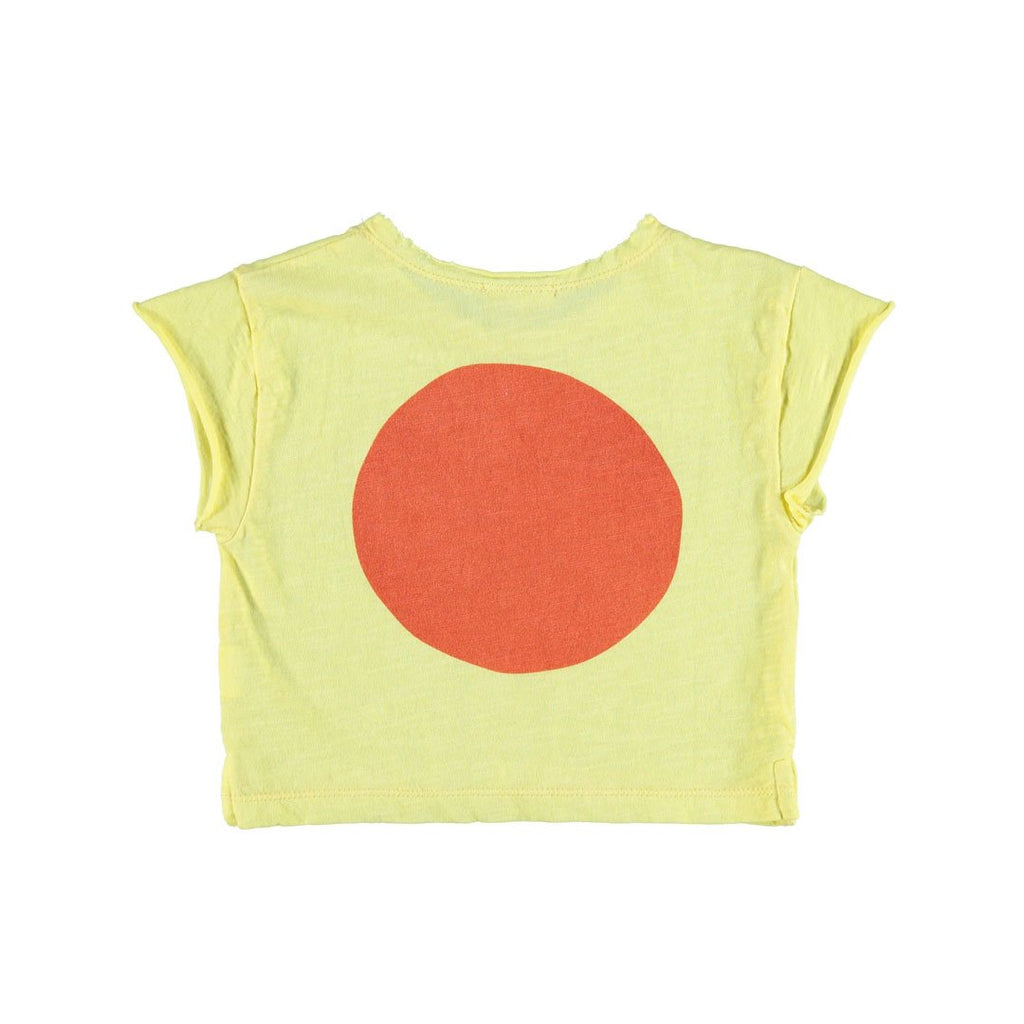 "Unisex t-shirt in 100% organic cotton, bright yellow, with ""big red circle on the back"