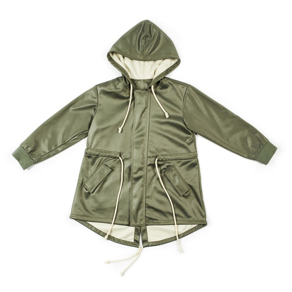 Parka made from the best italian fabrics, in army green with beige inner linings and details and an elasticated waist by I Leoncini