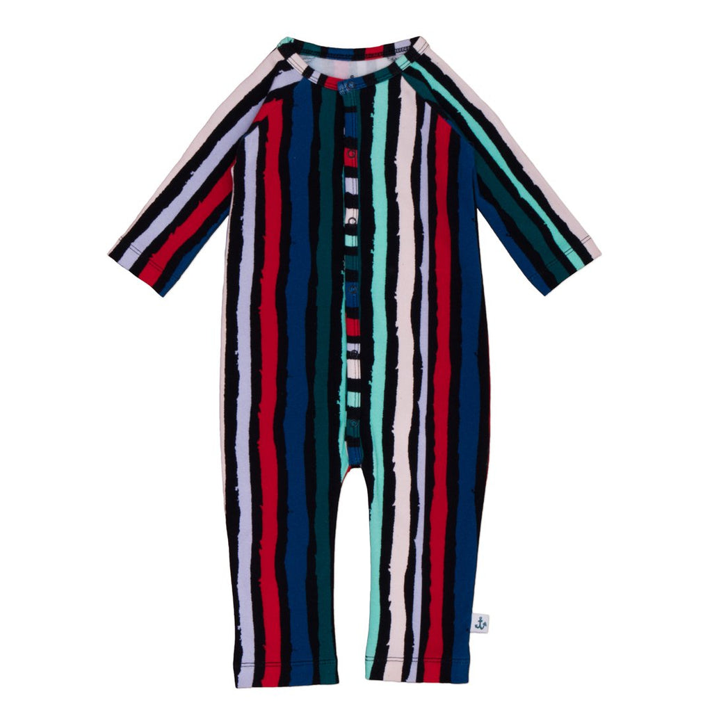 Unisex long-sleeve jumpsuit in organic cotton by NoŽ & Zo' with colorful and bold stripes