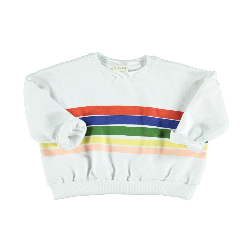 Front of unisex sweatshirt in ecru with a colorful rainbow print in organic cotton