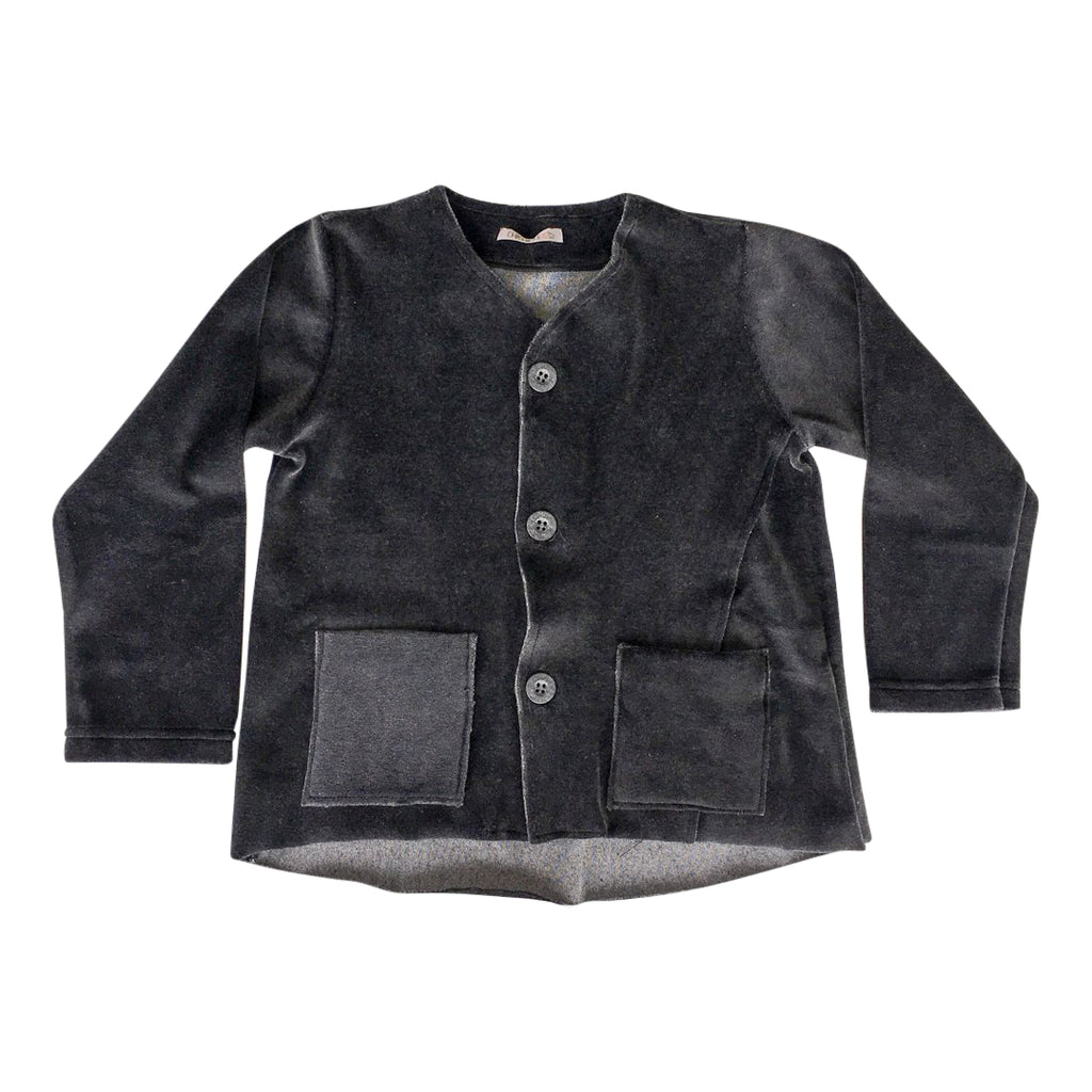Anthracite Velvet Cardigan Boy
