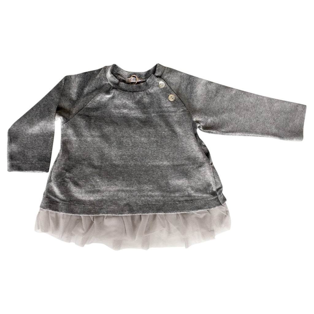 Girls sweater with embellishments such as the back in tulle by Chichirikids
