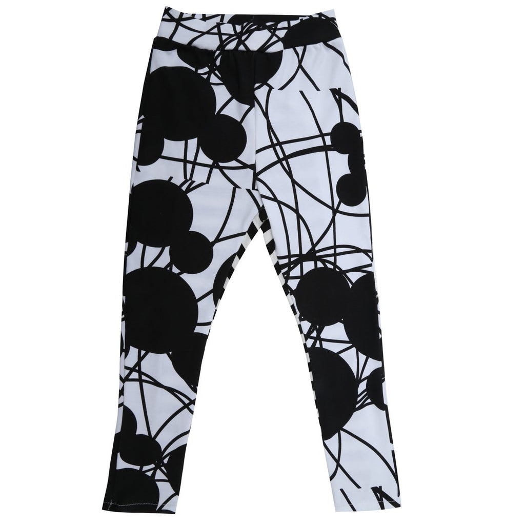 Monochrome mouse prints and contrasting black and white stripes leggings by EFVVA