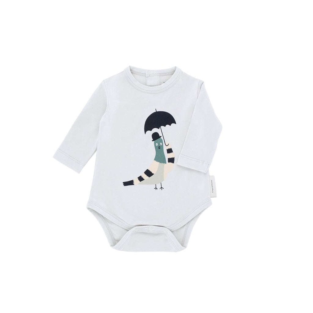 Pigeon Graphic Longlseeve Onesie Light Grey Navy Front