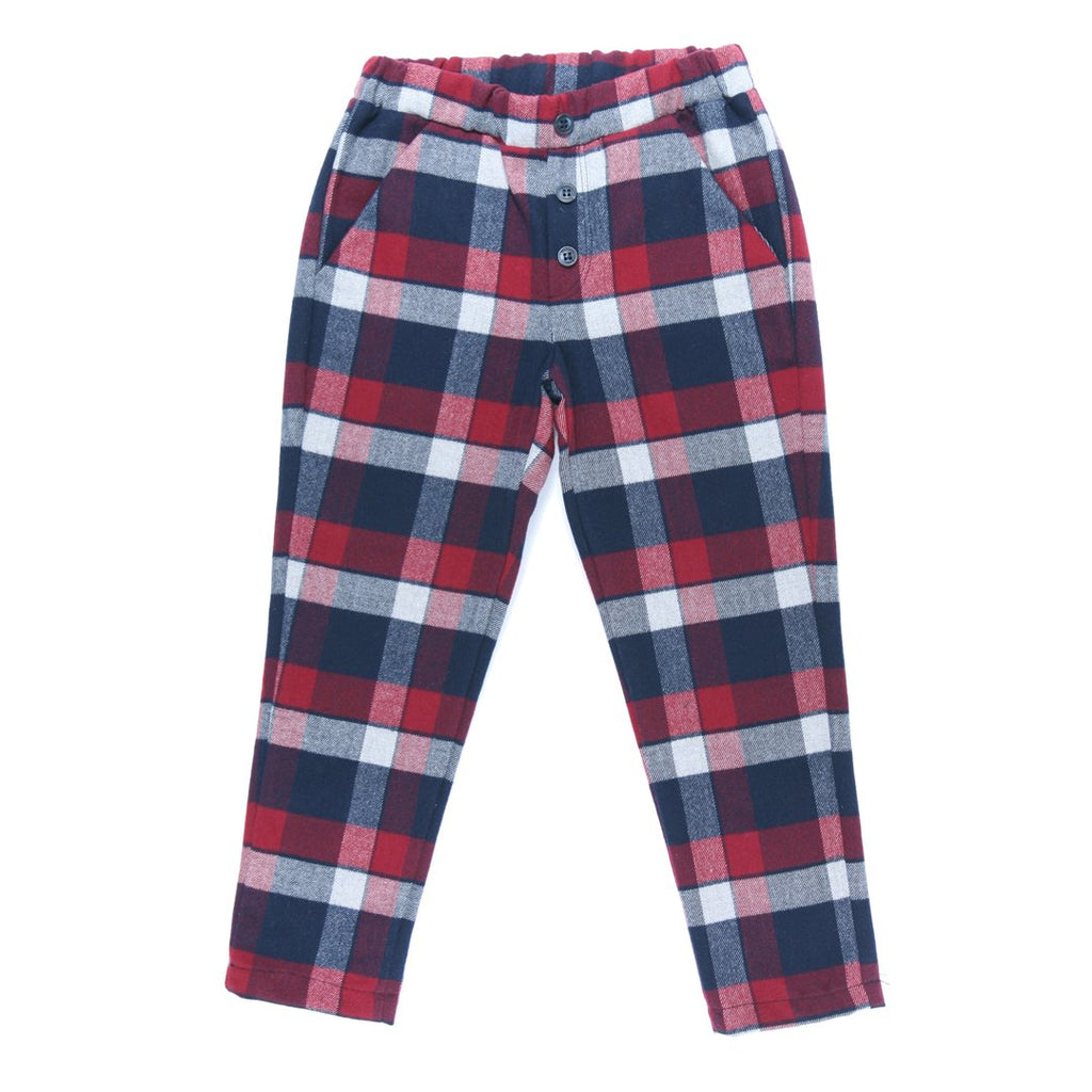 Bottoms for boys in deep red, blue navy and white