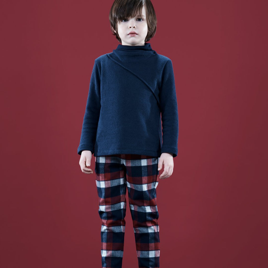 Plaid Pants Boy Bordeaux Blue White
