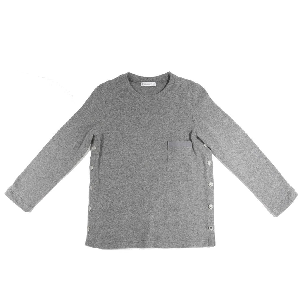 Luxury, soft fabric boys sweater with side buttons