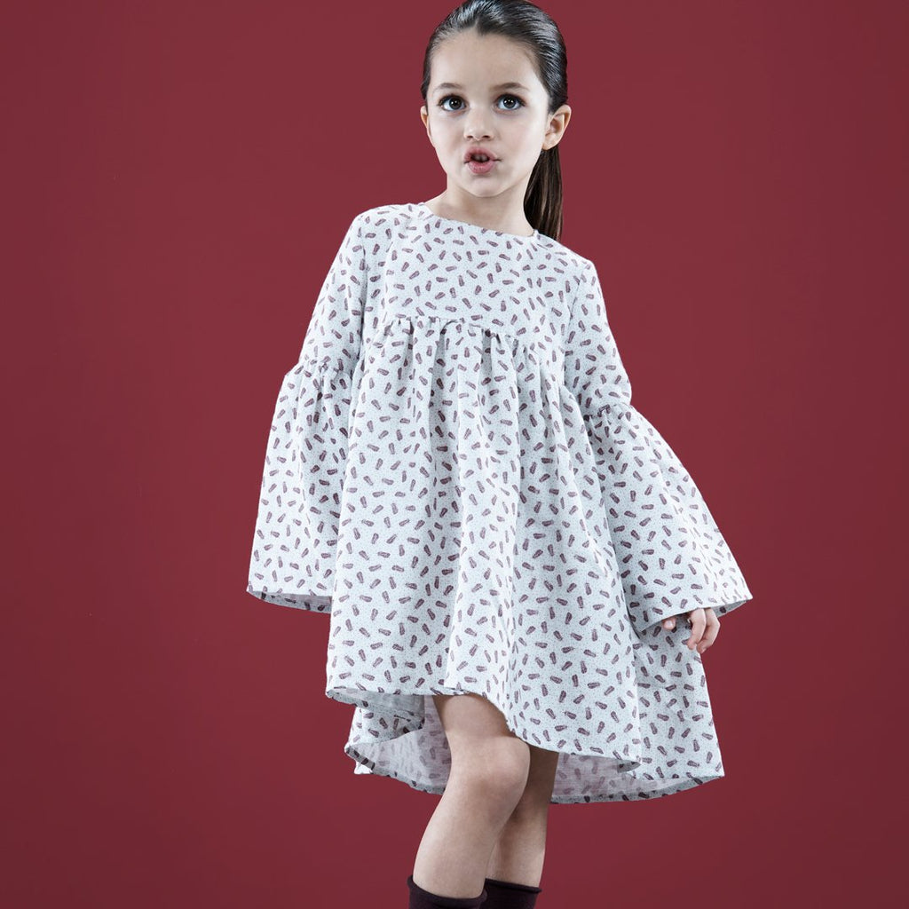 Long Sleeve Feathered Dress Girl