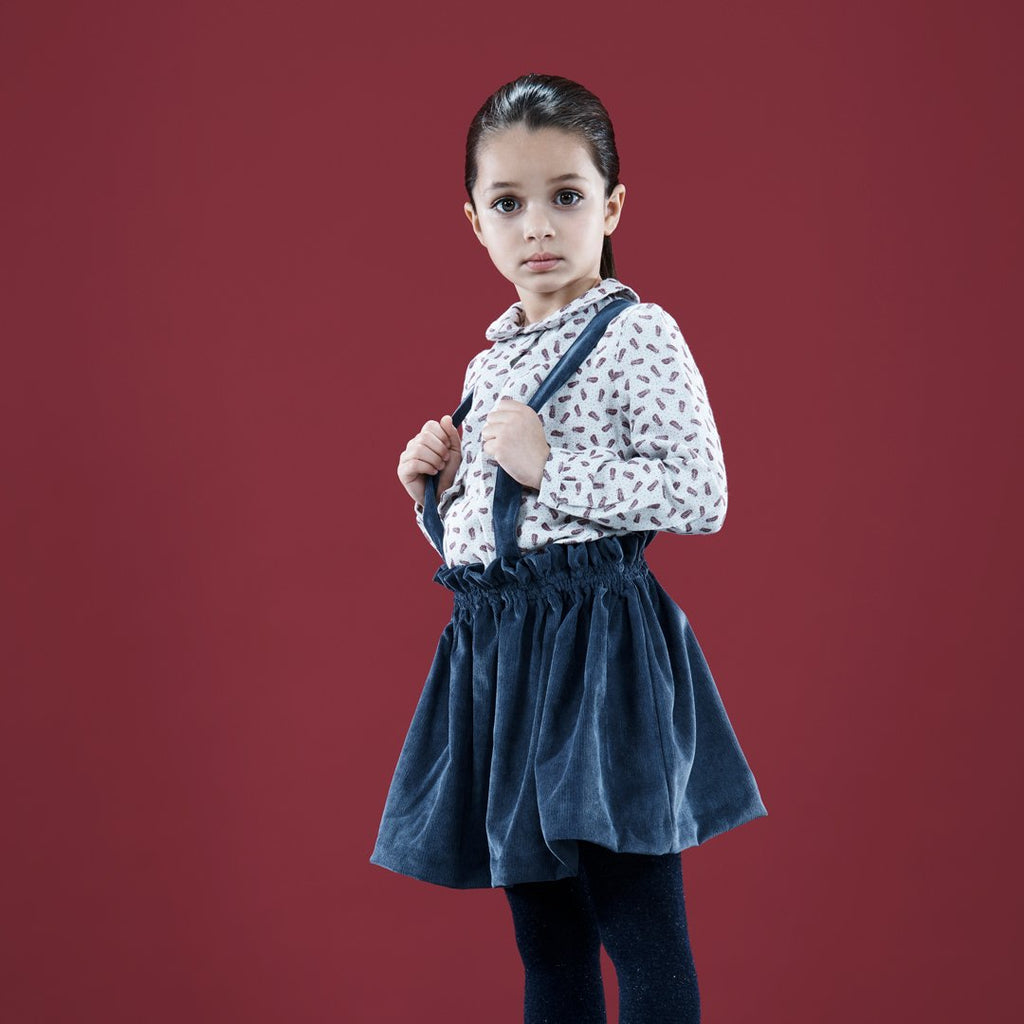Corduroy Suspender Skirt Blue Navy