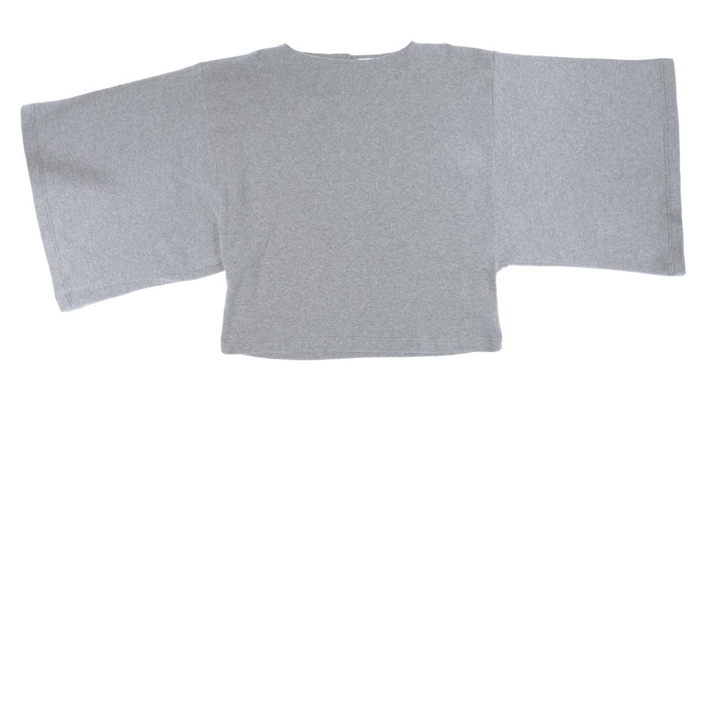 Long-sleeve girls sweatshirt with wide bell sleeves in light grey by I Leoncini