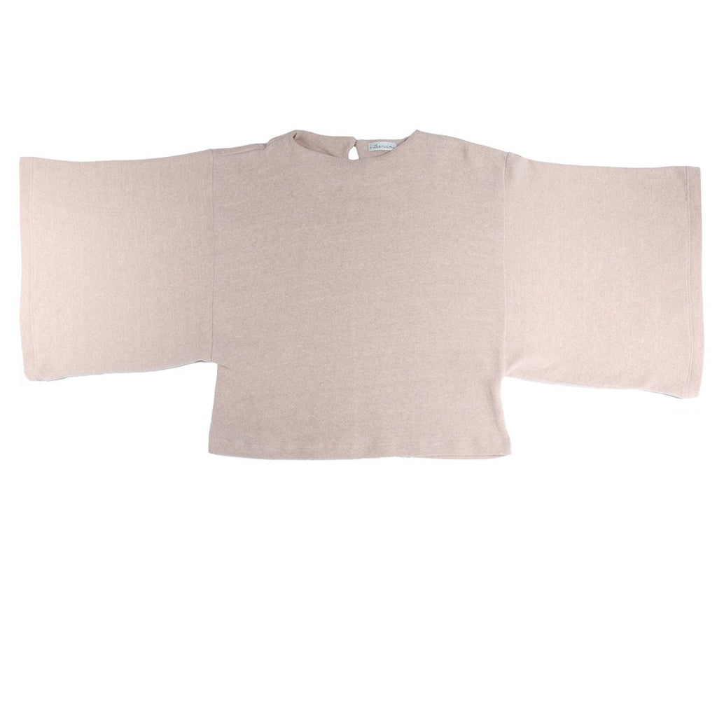 Long-sleeve girls sweatshirt with wide bell sleeves in light pink by I Leoncini.