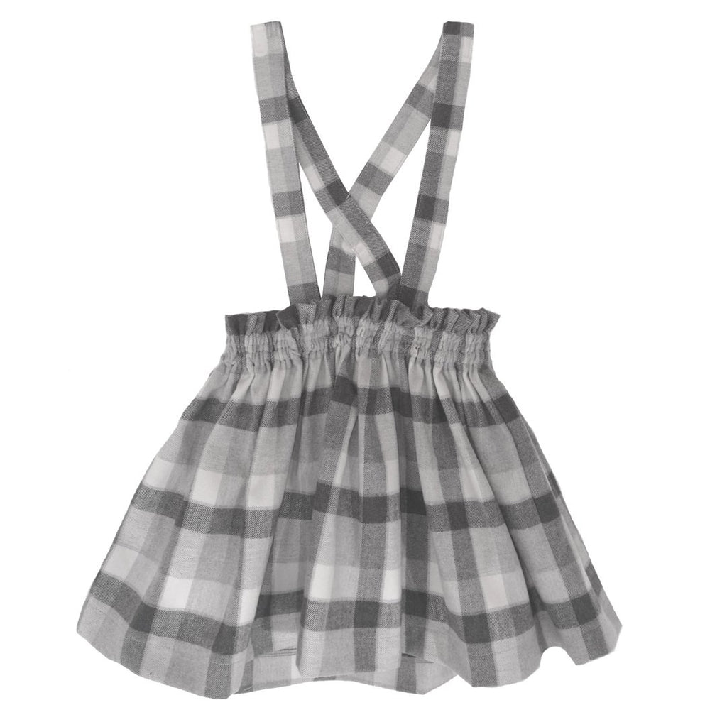 Grey checks skirt with adjustable suspenders
