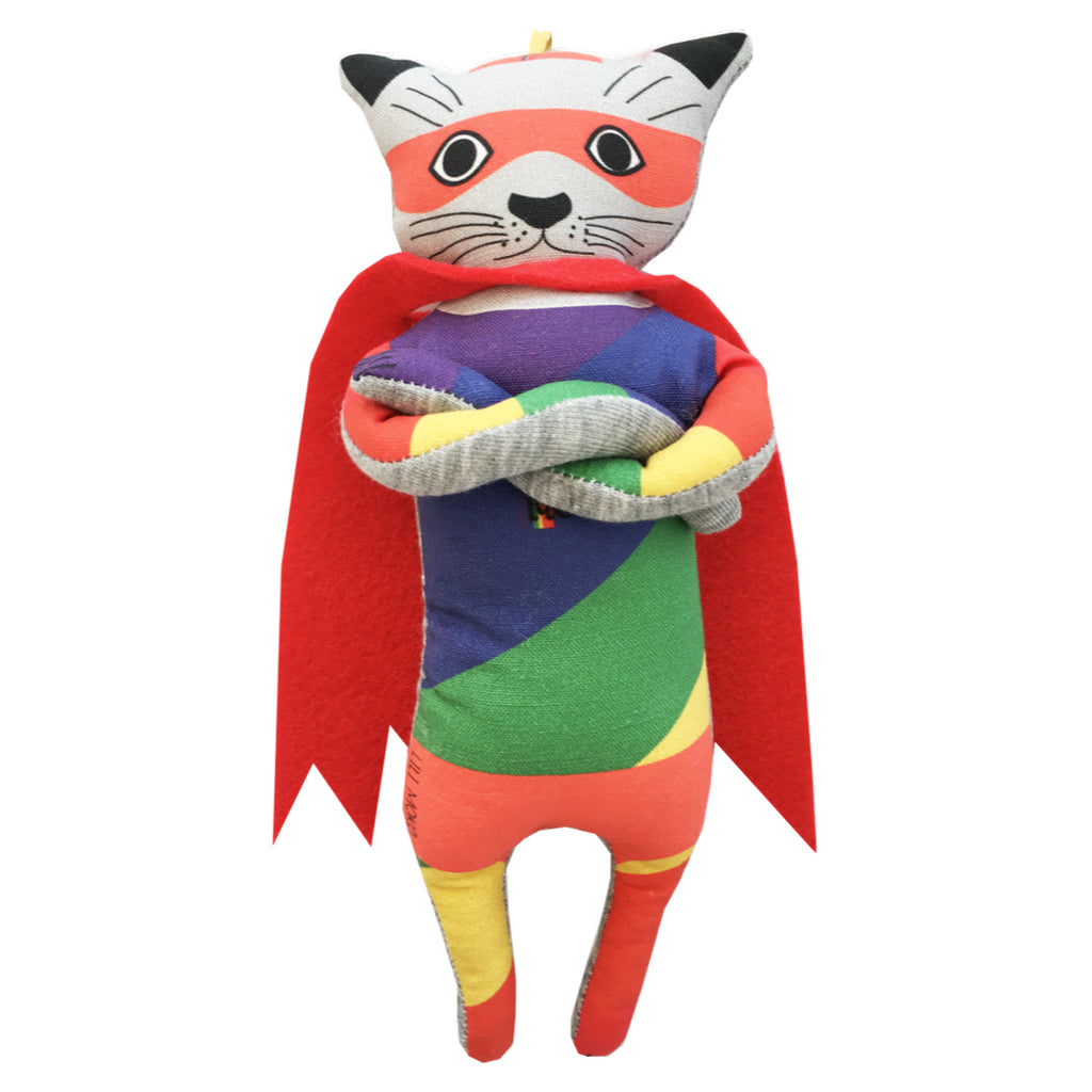 Super Moko stuffed animal Rainbow is handmade and unique by Lili Moko
