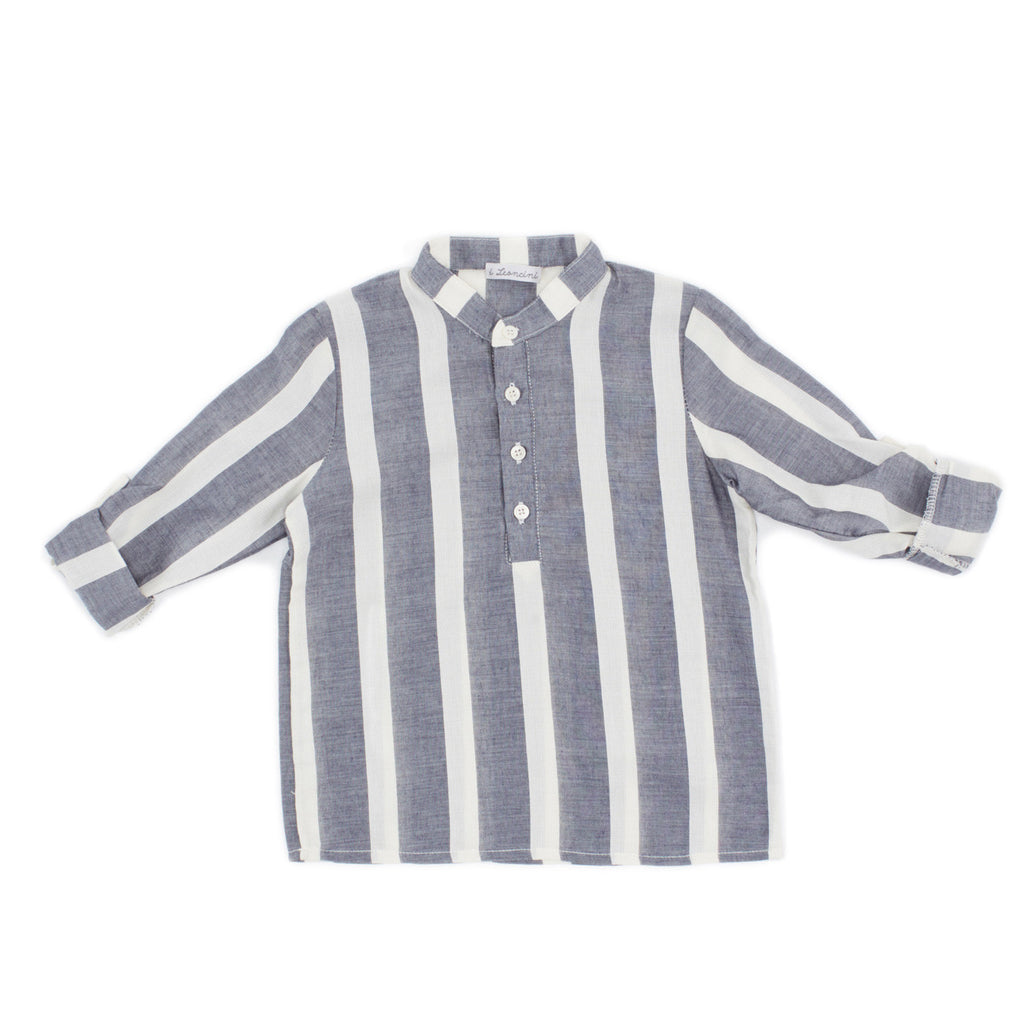 boys long sleeved shirt with stripes and Korean neck by I Leoncini
