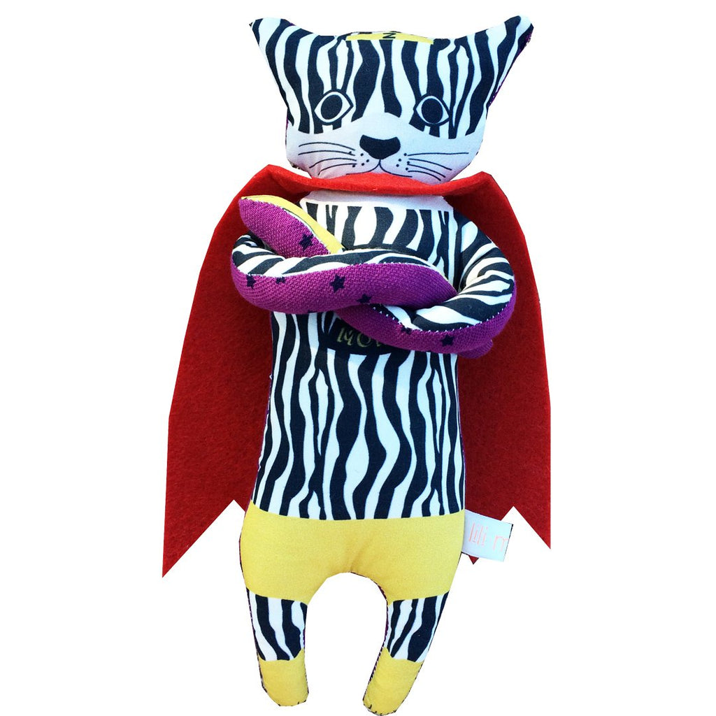 The Super Moko stuffed animals are all handmade and unique. Zebra is the rebel of the band by Lili Moko