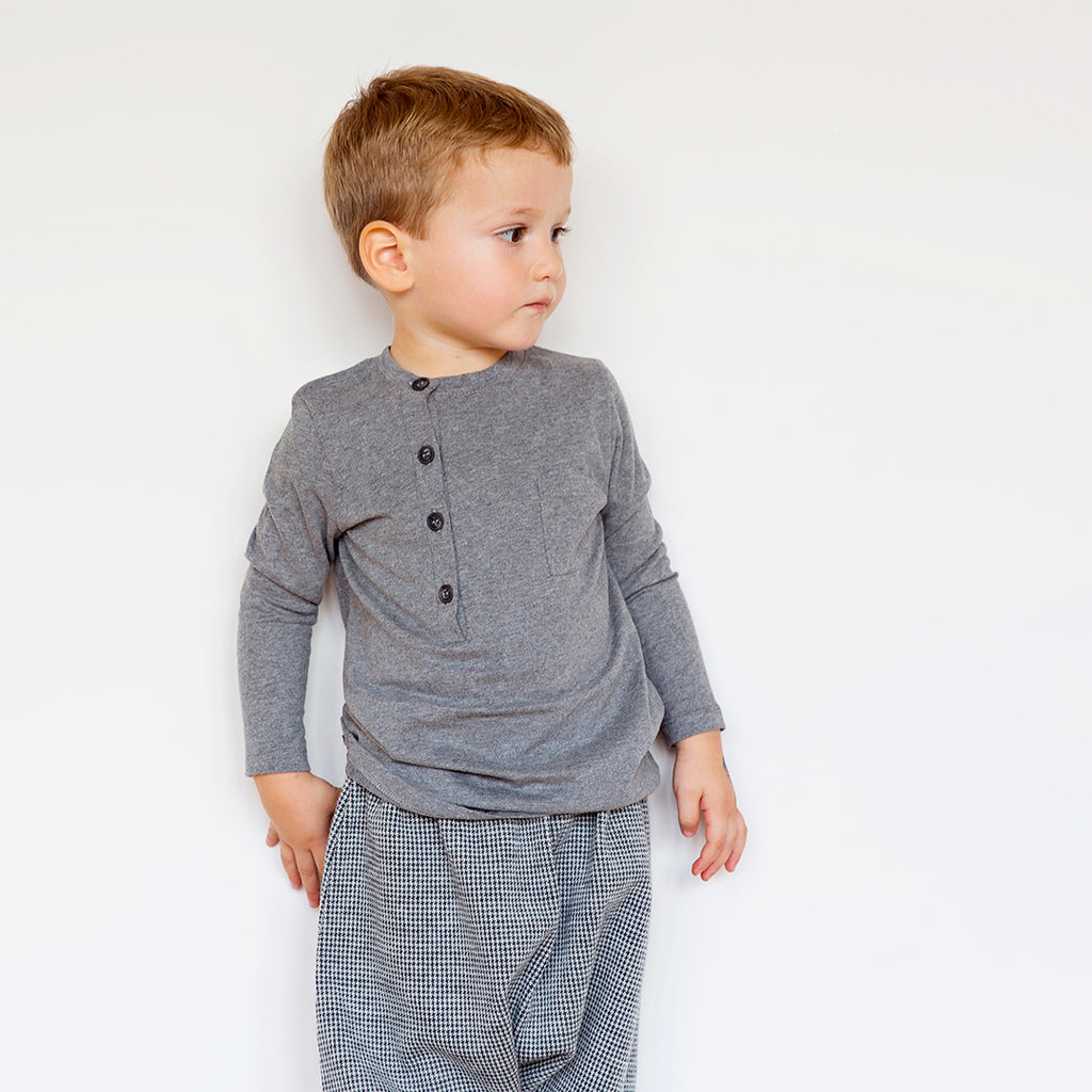Boy wearing Boys long sleeve t-shirt with side buttons in warm cotton by I Leoncini