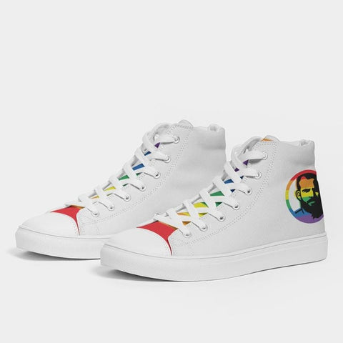 PRIDE White Men's Hightop Canvas Shoe