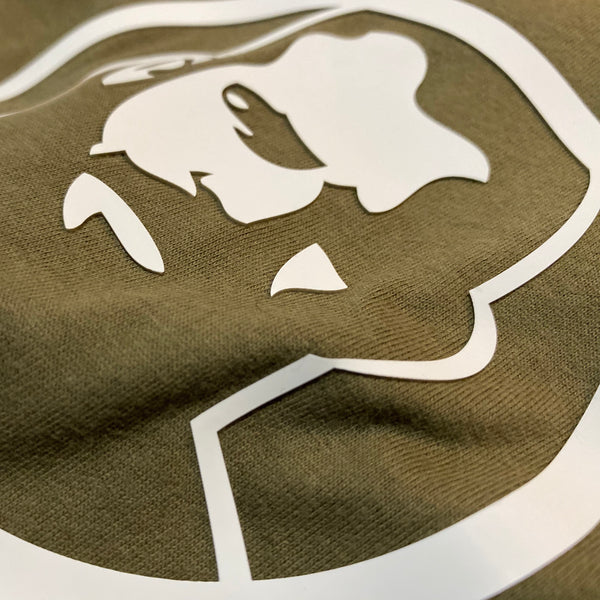 Rubber Man Icon Patch on Military Green Tshirt