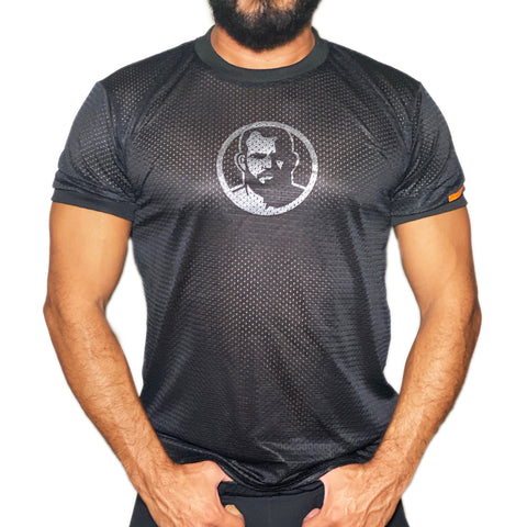 Man Icon hand printed on black  Mesh Tshirt