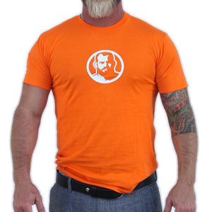Rubber Man Icon Patch on Orange Tshirt & Tank Top