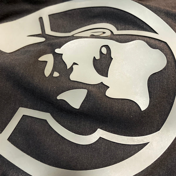 Rubber Man Icon Patch on Gray Tshirt